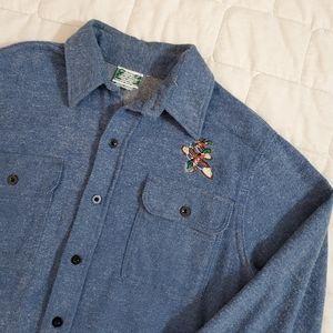 Vtg Prentiss Mallard Cotton Twill Button Up Shirt